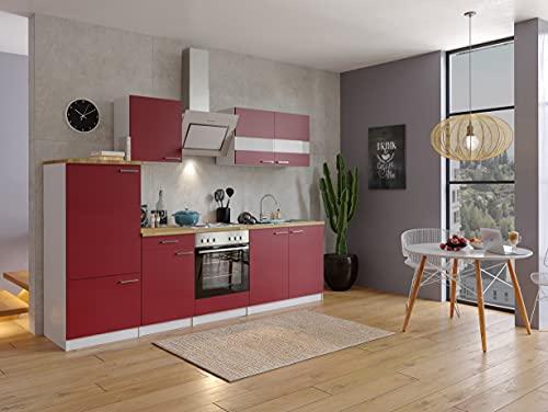 respekta Cuisine encastrable 270 cm Blanc/rouge