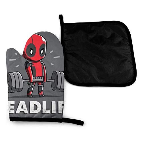 Deadpool Deadlift Weightlifting Pot Holders and Oven Mitts 2 Piece Heat Resistant Kitchen Bake Gloves Cooking Mitten