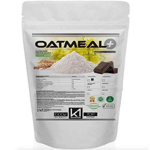 FARINA D' AVENA K1 Nutrition OATMEAL + 1000 gr (1kg) Avena Aromatizzata Istantanea Senza Zuccheri Aggiunti GLUTEN FREE - VEGAN - NON OGM - ALTO CONTENUTO DI PROTEINE E FIBRE (CIOCCOLATO BIANCO)