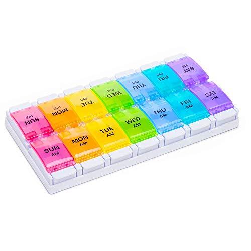DIELUNY Pastillero semanal, Organizador de Pastillas con botón pulsador, Compartimentos Grandes Pastillero semanal Rainbow para vitaminas Aceites de Pescado Suplementos Medicación