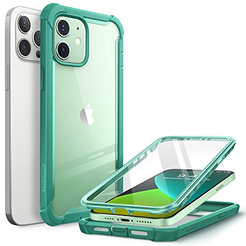 i-Blason Serie Ares Cover per iPhone 12 / iPhone 12 Pro con Pellicola Protettiva 360 gradi Custodia Rugged Case TPU Bumper, Retro Trasparente(Verde)