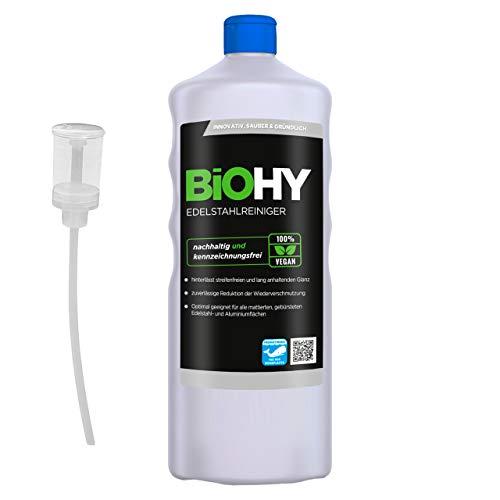 BiOHY Limpiador de acero inoxidable (1 botella de 1 litro) + Dosificador | para el cuidado de acero inoxidable para un nuevo brillo | Protección contra manchas lubricantes (Edelstahlreiniger)