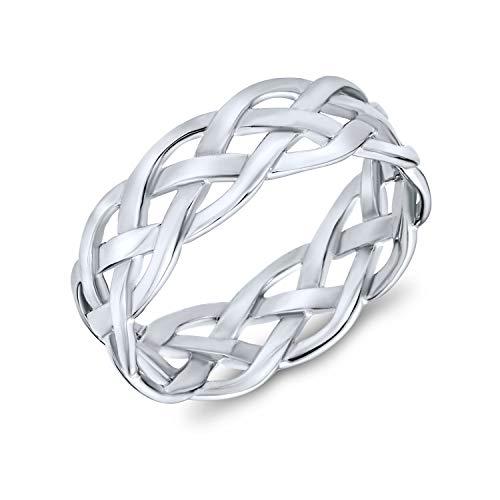Trenzada eternidad banda de trigo tejido alambre trenzado cable de cuerda anillo de banda para mujeres adolescentes 925 plata de ley 5MM