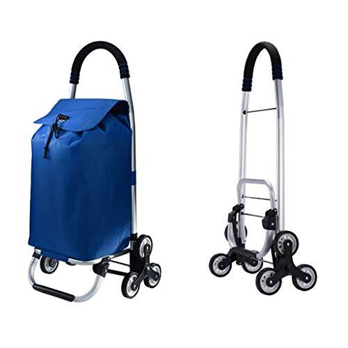 Z-SEAT Zusammenklappbarer Einkaufswagen 3-Rad-Treppensteigwagen mit zusammenklappbarem Design und Abnehmbarer wasserdichter Oxford-Stoffbeutel