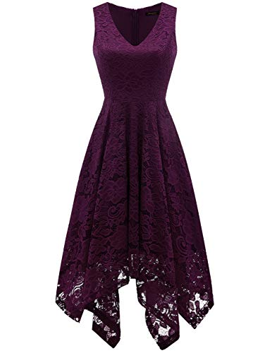Meetjen Damen Hochzeitskleid A Linie Cocktailkleid Elegante Abendkleid Festliche Spitzenkleid Brautjungfernkleid Grape M