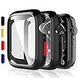 EGV [2 Pezzi] Nero Cover Compatibile con Apple Watch Series 6/5 /4 / SE 44mm Vetro Temperato Cover Custodia, HD Clear Pellicola Protettiva Watch Protezione per Apple Watch
