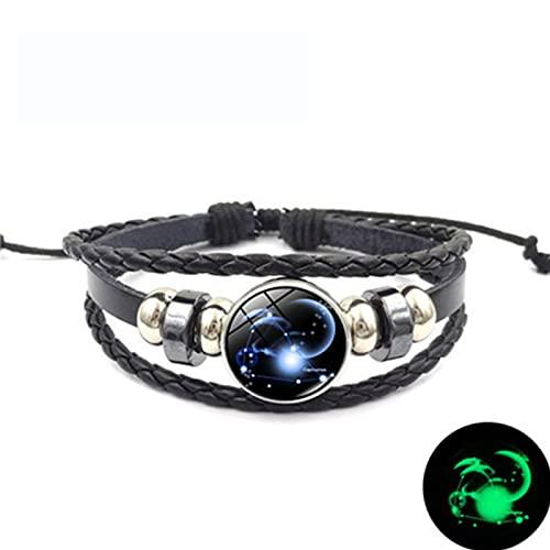 Doce constelaciones pulsera luminosa tejida multicapa Punk marca de moda pulsera de pareja de moda (Capricornio)
