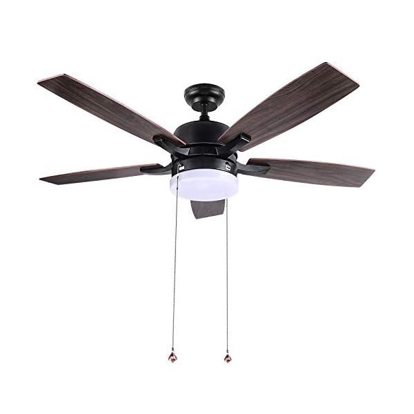 Ceiling Fan, 52-Inch Indoor/Outdoor Ceiling Fans, 5 Solid Wood Board Fan Blades,...