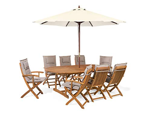 Beliani Garden Dining Set Oval Table 8 Folding Chairs Umbrella Taupe Cushions Maui