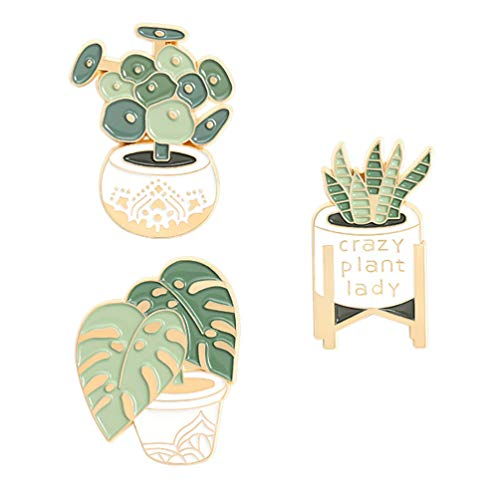 Amosfun 3pcs Cute Enamel Lapel Pins Set Potted Plants Shape Succulents Cartoon Brooches Pin Badges for Clothing Bags Backpacks Jackets Hat Accessory Decoration