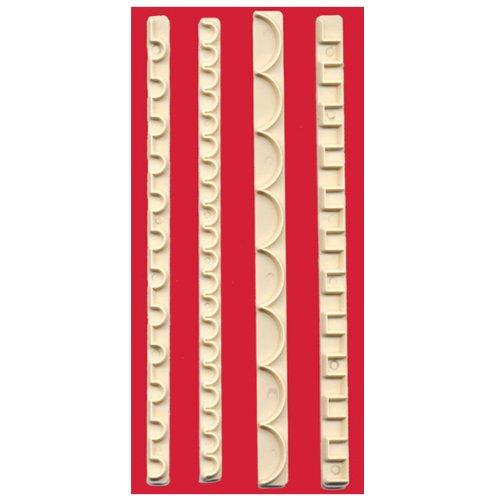 Taglierine per Greche - Bordure - Merletti - Balze - Motivi GEOMETRICI decorazione torte pasta di zucchero e fondente per Cake Design - set da 4 pz