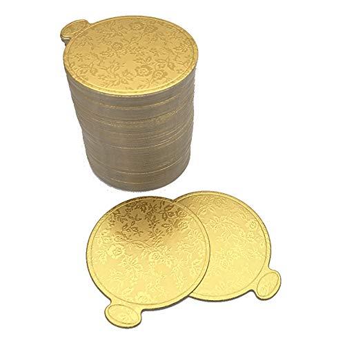 Cikuso 100 Unids/Set Impresión de Oro Ronda Mousse Pastel Tableros Papel Magdalena Postre Muestra Bandeja Pastel de Bodas Pastelería Kit Decorativo