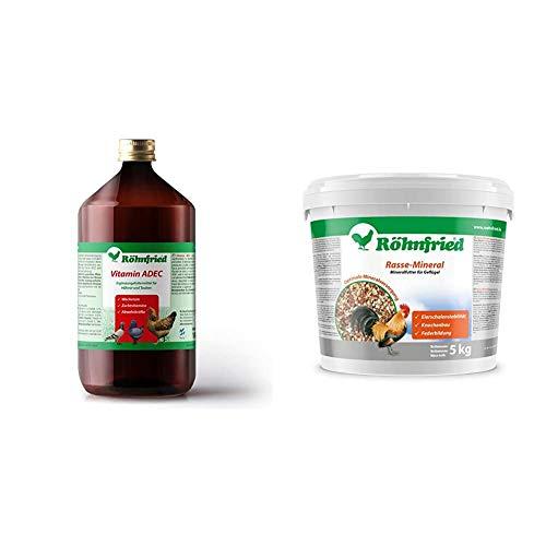 Röhnfried Vitamin ADEC - Zur zusätzlichen Vitaminversorgung für alle Tiere (1000 ml) & Rasse Mineral für Rassegeflügel - EIN Naturprodukt mit wertvollen Mineralien (5 kg)