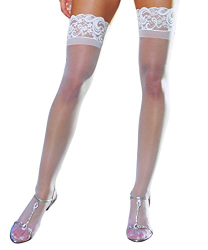 Dreamgirl Women's Sheer Thigh-High Stockings, White, One Size
