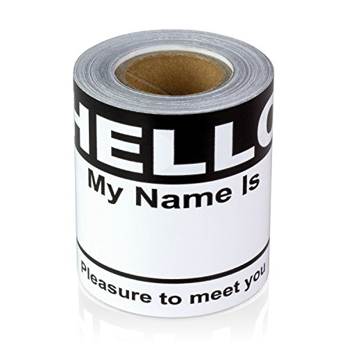 Black Hello My Name is Name Badge Tag Labels Stickers - 1 Roll