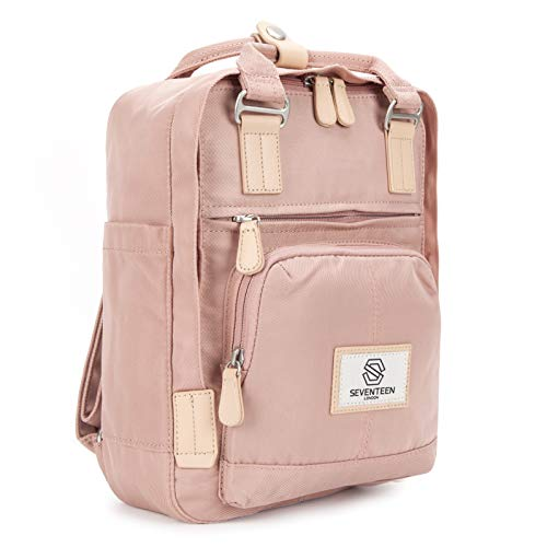 SEVENTEEN LONDON – Moderner, einfacher und Unisex 'Hackney Mini' Rucksack in rosa mit einem klassischen Design im Skandi-Stil – perfekt für Tablets