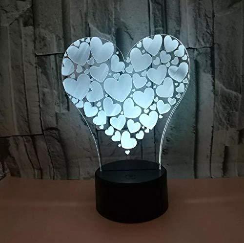 Regalos De San Valentín Amor 3D Luz De Noche Usb Colorido Táctil Led Luz De Noche Luminaria De Mesa Usb Led Lámpara Para Niños