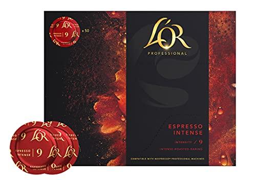 L'OR Supreme Nespresso®* Pro kompatible Kapseln, Pads, 50x Lor Espresso Intense Kaffeekapseln, Vorratspack (Intensität 9/10), nachhaltig zertifizierte Kaffeepads