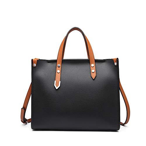 Miss Lulu Modern Handtaschen 2 Set Damen Schultertasche Große Elegante Tasche für Arbeit (Schwarz)