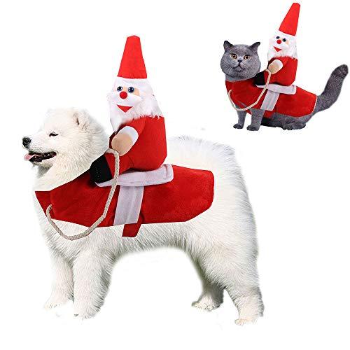Disfraces de Navidad para perros Santa Vestir Mascotas Festival Trajes Jinete Creativo Perrito Gato Ropa (Rojo, M)