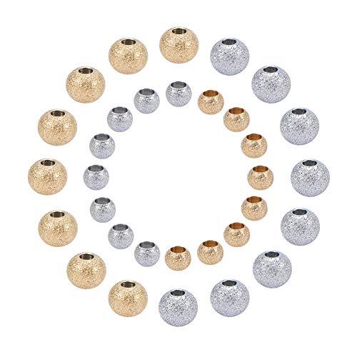 PandaHall Elite Circa 80pcs Perline distanziatore in 304 Acciaio Inox Perline di Metallo per Braccialetti collane bigiotteria mestiere Fai da Te