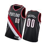 XMYM Camiseta de Baloncesto para Hombre Carmelo Anthony Portland Trail Blazers 00#, Camiseta Transpirable de Secado rápido Bordada, Tops Deportivos Retro Gym-Black A-M