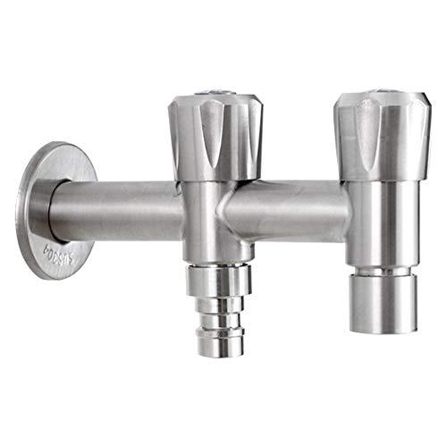 Yorten Doppelgriff Waschmaschine Waschbecken Wasserhahn Wandmontage Ventil Edelstahl-Garten-Küche Badezimmer Waschbecken Armatur