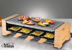 """Electric Raclette Grill with High Density Granite Grill Stone by Artestia, Separate Heat Source for Plate and Side Dishes, Serve the whole family. Model number AR-89007 The set includes one high density granite grill stone(16"""" X 7.87""""), eight raclett..."""