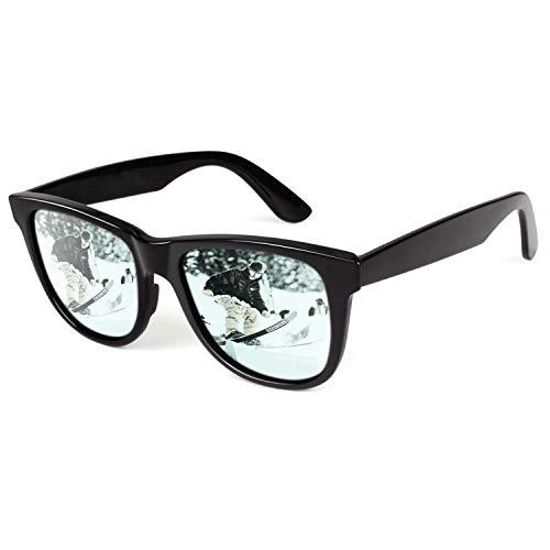CGID Klassische Unzerbrechliche TR90 Herren Damen Sonnenbrille High End Polarisierten Gläsern M01 Eckige Sonnenbrille Brille für Herren Damen Schwarzer Rahmen Silberblaue Gläser Verspiegelt 100% UV