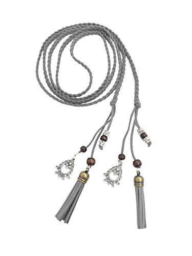 Exotische Damen Mädchen Gürtel Bauchkette mit Quaste und Holzperlen 150cm Lang Geflochtene Waist Belt grau