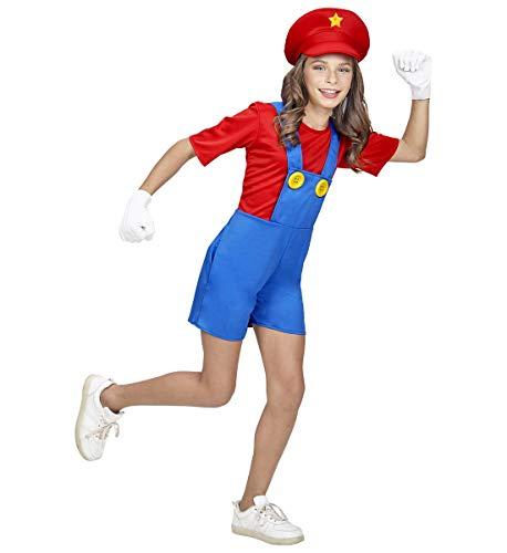 Luxuspiraten - Mädchen Kinder Super Klempner Kostüm mit kurzer Latzhose und Hut, perfekt für Karneval und Halloween, 158, Blau
