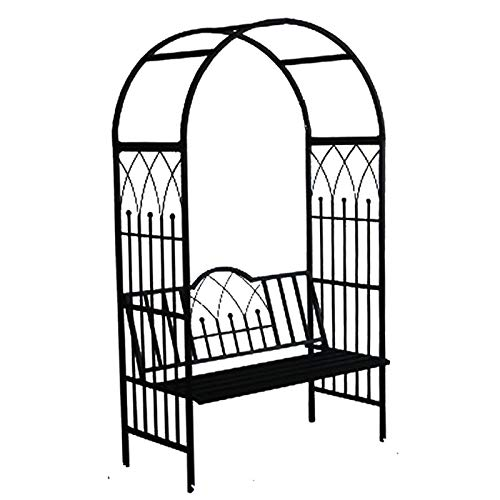 Garden Arbours with Seats, Metal Garden Arch, 114cmx52cmx210cm, Support Archway for Roses Climbing (Black)