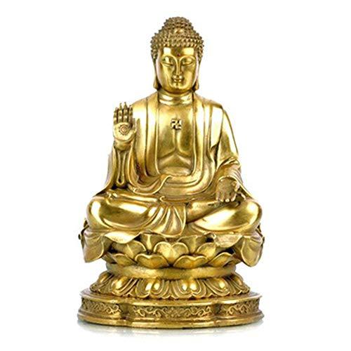 FFDGHB LäChelnde Buddha Skulptur Happy Buddha Statue Figur Haus Und BüRo Dekoration Buddha Dekorationen Shining Pure Copper Buddha Statue 20 cm