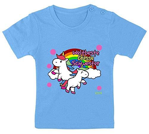 Hariz - Camiseta para bebé, diseño de unicornio y arcoíris, incluye tarjetas de regalo de color azul claro, 9 – 15 meses/70 – 79 cm