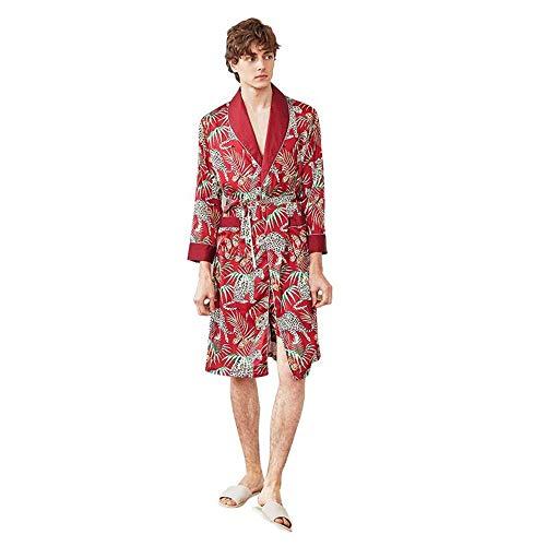 Nuevos Hombres Bata de satén Kimono Homme Sedoso Albornoz