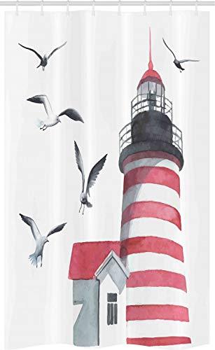 ABAKUHAUS Leuchtturm Schmaler Duschvorhang, Möwen Strand Meer, Badezimmer Deko Set aus Stoff mit Haken, 120 x 180 cm, Rot