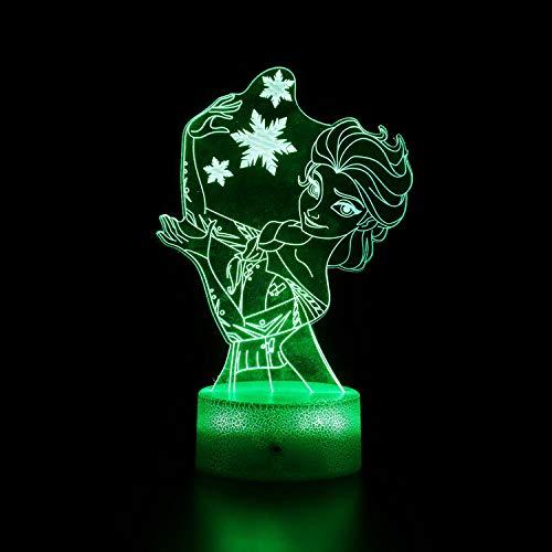 3D ilusión noche luz para niños princesa Aisha 16 colores Swich con control remoto para sala de estar cama bar regalo juguetes