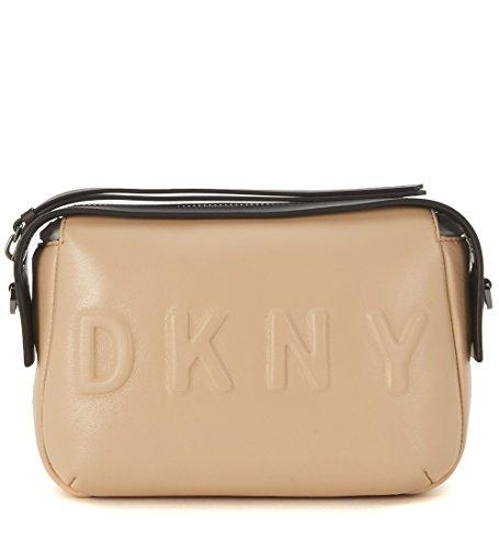 Sac à bandoulière DKNY en peau noire et rose nude