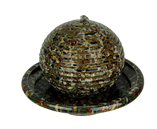 Mayrich Mosaic Bronze Porcelain Floating Ball Tabletop Fountain