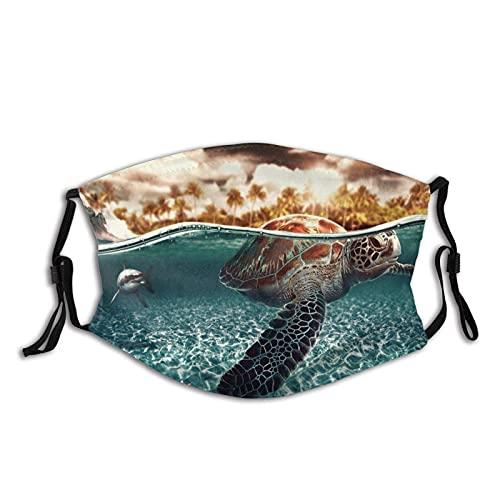 Mascarilla de tortuga hermosa máscara animal verano ajustable reutilizable a prueba de polvo pasamontañas con 2 filtros para mujeres, hombres y jóvenes
