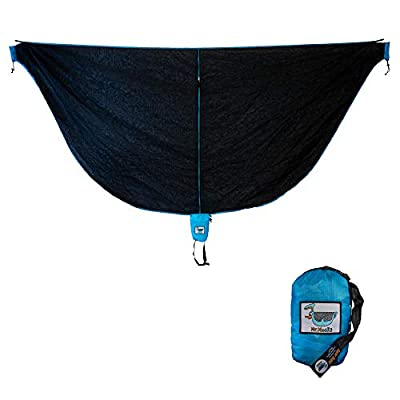 Mr. Mocks Double Hammock with Light Weight Tree Straps and 12kN Aluminum Wire gate carabiners (Black Skeeter Beater)
