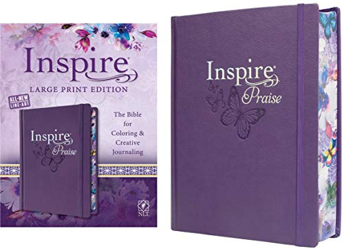 Tyndale NLT Inspire PRAISE Bible (Large Print, Hardcover, Purple): Inspire Coloring Bible–Nearly 500 Illustrations to Color, Creative Journaling Bible Space-Religious Gifts Inspire Connection with God