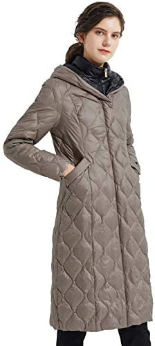 Orolay Women s Inner Bib Down Jacket Long Winter Coat Hooded Puffer Jacket Caribou M product image
