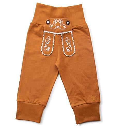 Schöneberger Trachten Couture Baby Stoffhose im Lederhosen Design – Babyhose mit elastischem Bund – Mädchen Pumphose Kinderhose REH (74/80, Hellbraun)