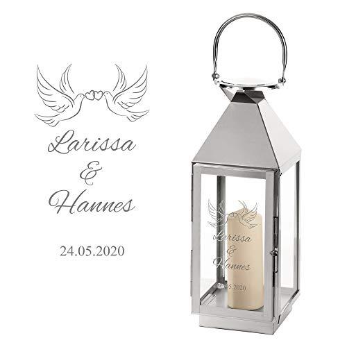 Casa Vivente Laterne aus Edelstahl mit Gravur zur Hochzeit, Personalisiert mit Namen und Datum, Motiv Tauben, Geschenkidee für Paare
