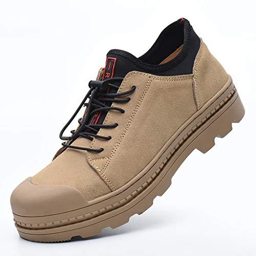 Sicherheitsschuhe Männer und Frauen Safety Training Schuhe, Breathable Leder Leichte Verschleißfest Elektro-Schweiß Anti-Rutsch-Gummi unten Arbeitsschuhe, leichte Breathable Industrie-und Bau-Schuhe a