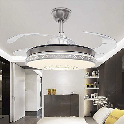 RS Lighting Living Room Crystal Fan Lights Luxury Stealth Blades Ceiling Fan Lights Bedroom Dining Room Study Fan Chandelier (Silver-04)