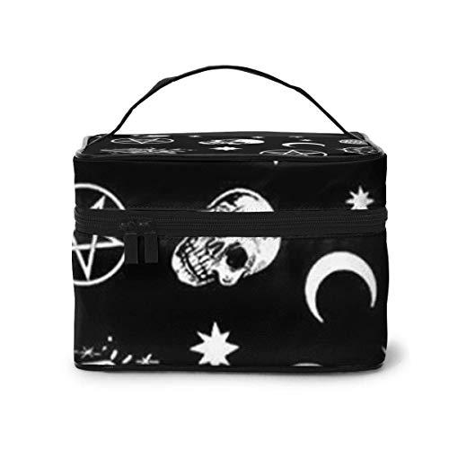 Make-up Taschen Etuis,Kosmetiktaschen Skull Cat Moon Gothic Pattern Black Travel Makeup Bag Portable Makeup Boxes for Women Cosmetic Case Storage Organizer Travel Daily Carry