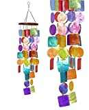 Bellaa 22890 Handmade Wind Chime Capiz Presents for Mom Gifts for Grandma Outdoor Patio Lawn Garden Home Decor Hanging Memorial Grace 27 inch