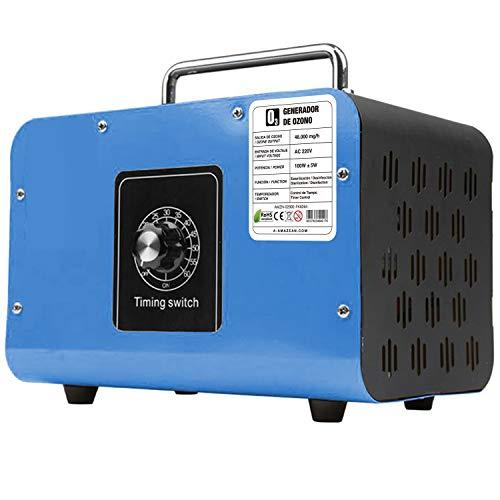 AMAZEAN O3 Premium/Generador de ozono Industrial 48.000mg / HR 220v con células tubulares de sílice. Limpiador de ozono, Dispositivo de ozono. Tecnologia Honey-Comb-Tec© (Azul)